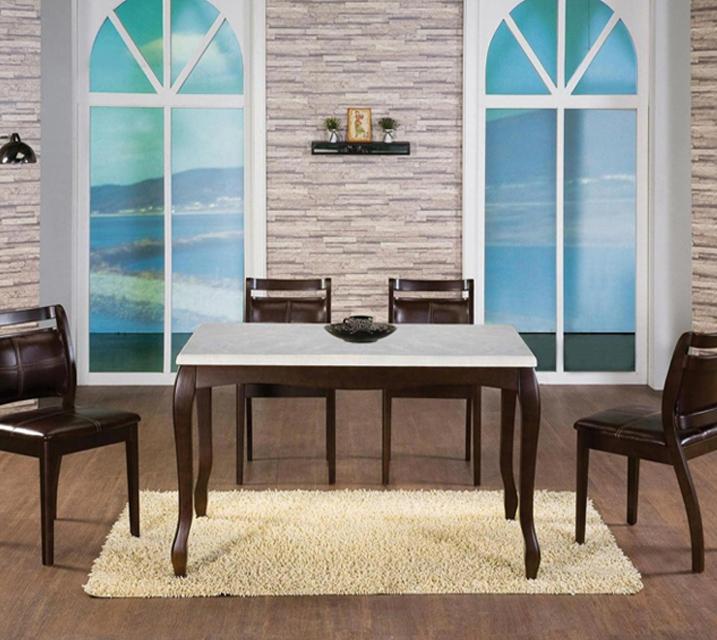 [렌탈] 그웬 천연대리석 4인 식탁 (의자형 / 의자4ea) / 월 33,800원