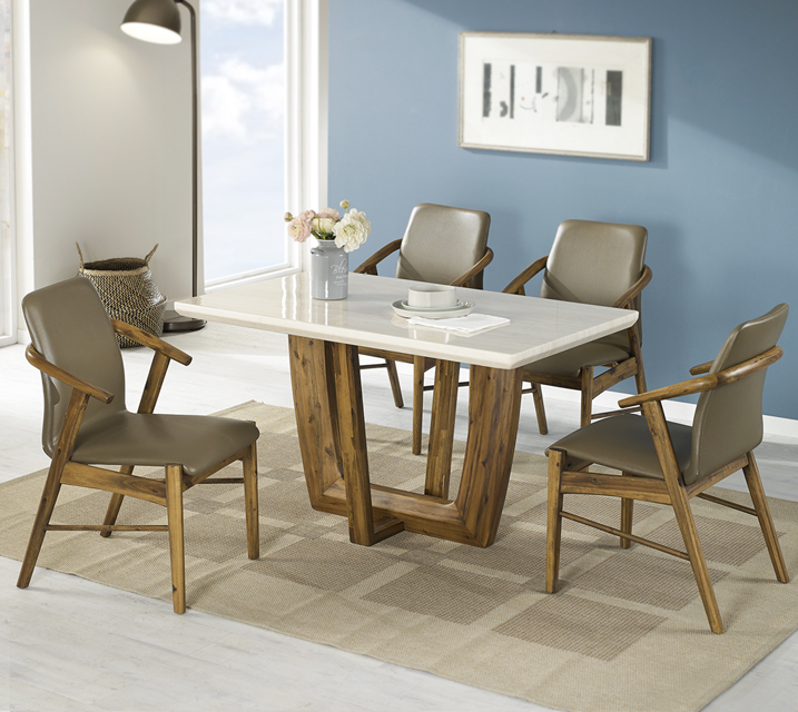 [렌탈] 베르나 4인 대리석 4인 식탁 세트 (벤치형 / 의자2ea+4인벤치) / 월 37,800원