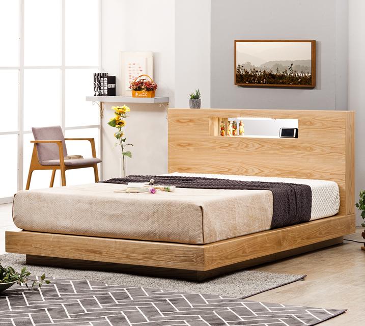 [한정렌탈]루피 LED조명 침대 퀸(Q) 침대세트 [독립소프트폼 매트리스 포함] / 월 33,800원