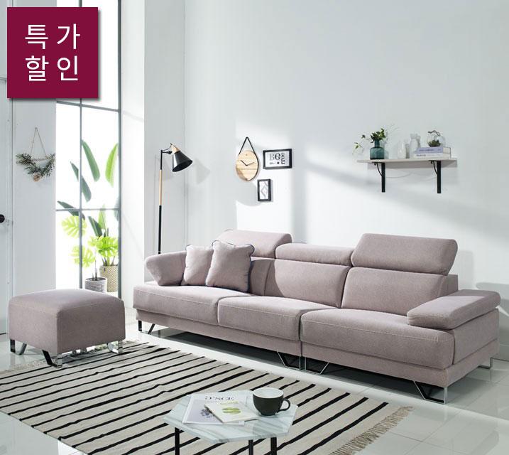 [렌탈] 에일린 패브릭 4인소파 핑크그레이 [스툴미포함] / 월 39,800원