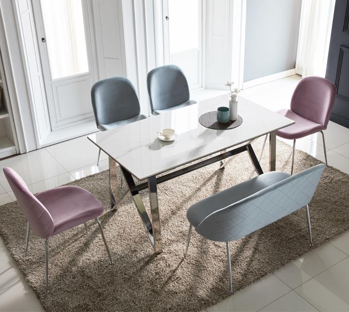 [렌탈] 브롬 세라믹 4인 식탁 세트 (의자형/의자4ea) /월 43,800원 (핑크색의자로출고)