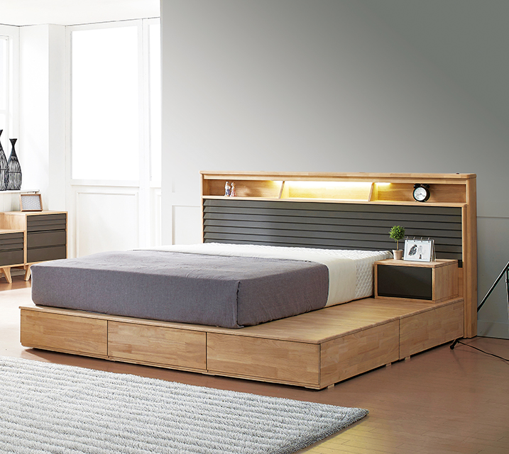 [렌탈] 베릴 고무나무 LED 침대Q 2000 [매트리스포함]+ 협탁 / 월 53,800원