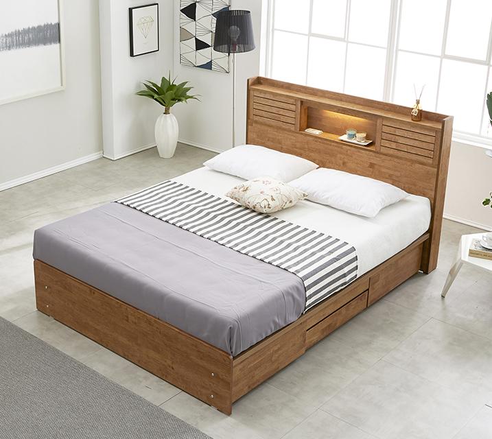 [렌탈] 아가타 고무나무 LED 4단 서랍 침대 퀸 (Q) / 월 29,800원