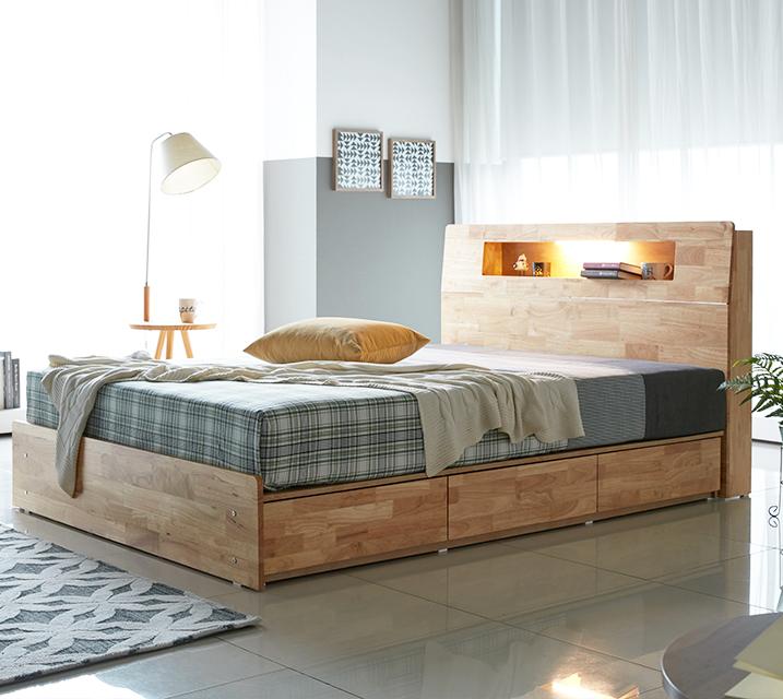 [렌탈] 코이 고무나무 LED 3단 서랍 침대 퀸 (Q) / 월 21,800원