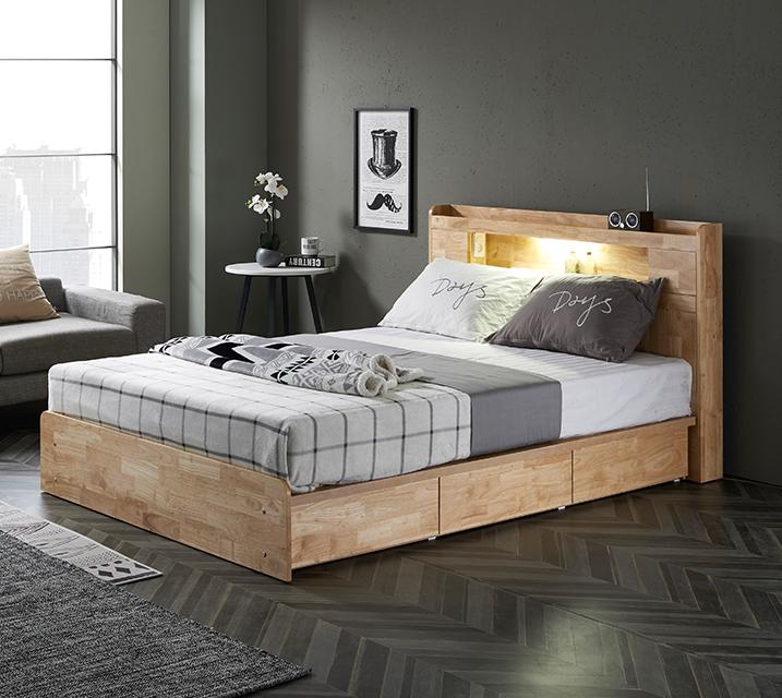 [한정렌탈] 체리 고무나무 LED 3단 서랍 침대 (Q) 침대세트[독립소프트폼 매트리스포함] / 월 33,800원