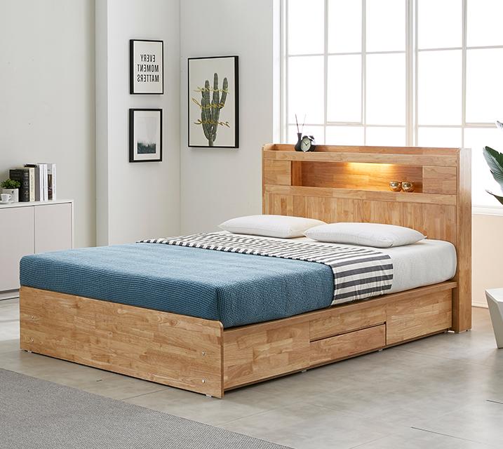 [한정렌탈] 체리 고무나무 LED 4단 서랍 침대 (Q) 침대세트[독립소프트폼 매트리스포함] / 월 35,800원