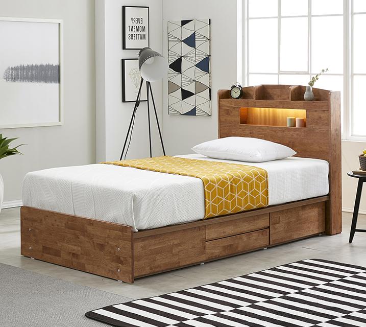 [렌탈] 베스 고무나무 LED 4단 서랍 침대 슈퍼싱글 (SS) / 월 21,800원