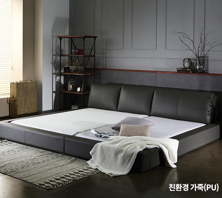 [렌탈] 프리모 친환경 가죽  패밀리 침대프레임 Q+SS / 월 63,800원