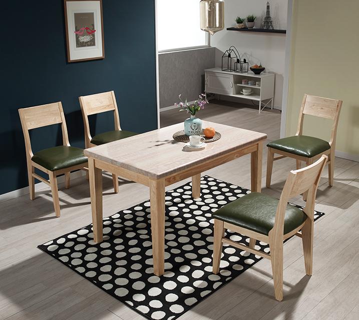 [렌탈] 더니즈 천연대리석 4인 식탁 (벤치형 / 의자2ea + 4인벤치) / 월 25,800원