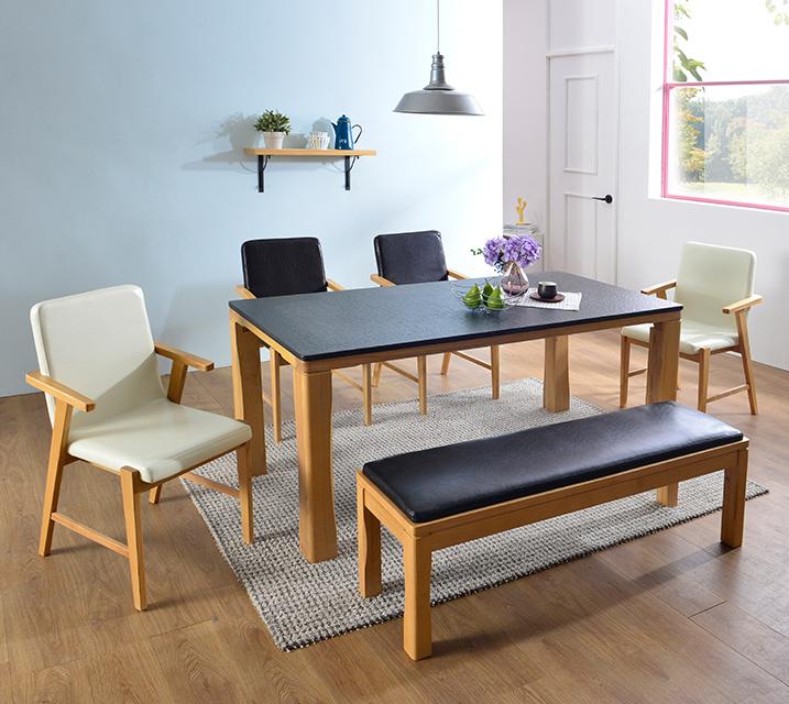 [렌탈] 린다 천연화산석 6인 식탁 세트 (벤치형 / 의자 4ea + 6인벤치) / 월 67,800원