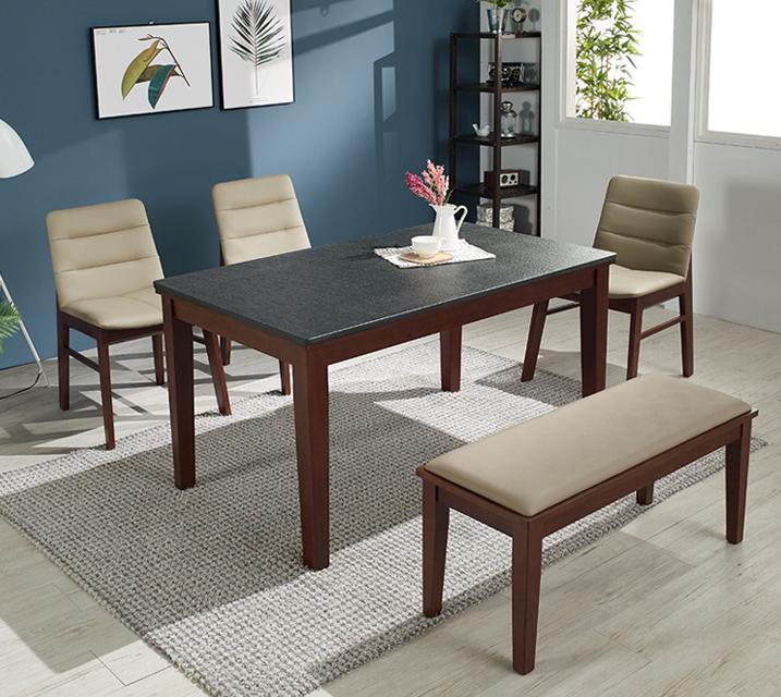 [렌탈] 소니아 천연화산석 4인 식탁 세트 (벤치형 / 의자 2ea + 4인 벤치) / 월 33,800원