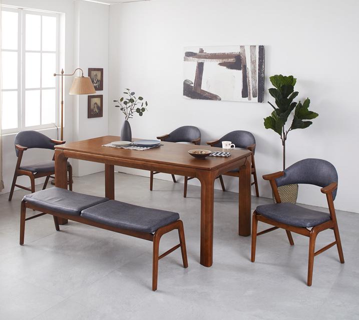 [렌탈]로키 애쉬원목 4인 식탁 세트 (의자형 / 의자4ea) / 월 37,800원
