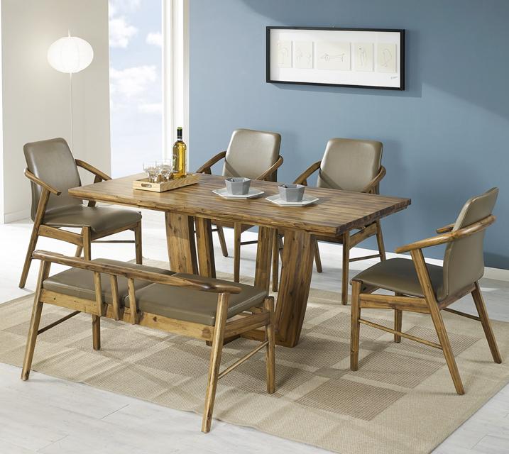 [렌탈]바네사 아카시아 원목 4인 식탁 세트 (의자형 / 의자4ea) / 월 29,800원