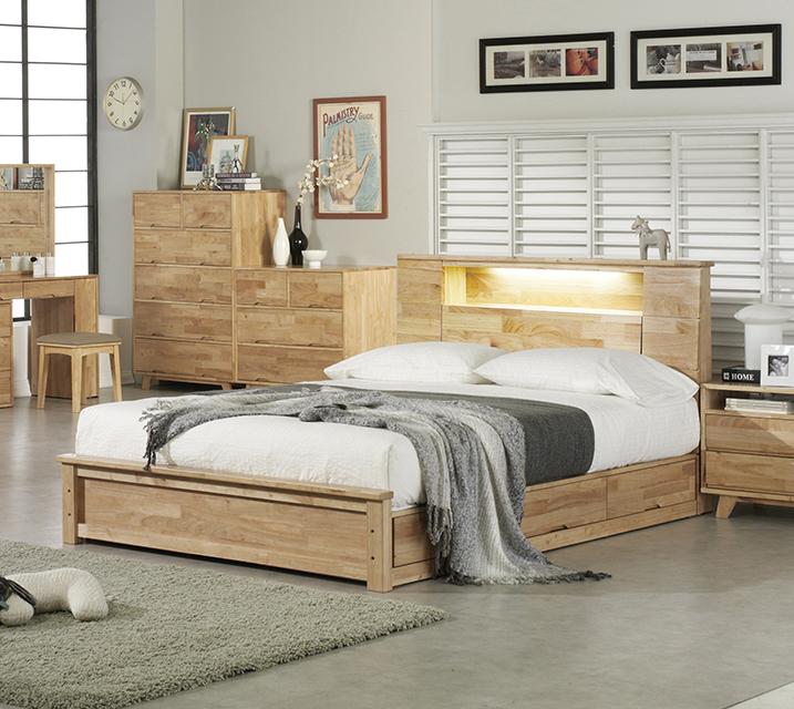 [렌탈] 로에 LED 조명 수납형 고무나무 원목 침대프레임 퀸(Q) / 월 39,800원