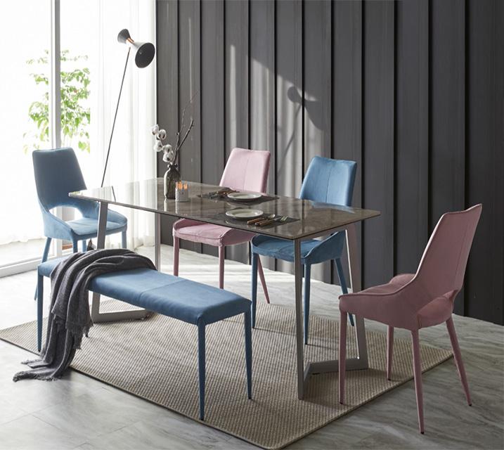 [렌탈] 빈스 세라믹 샤무드 4인 식탁세트 + 의자/벤치포함 (벤치형/벤치1ea+의자2ea) / 월 35,800원