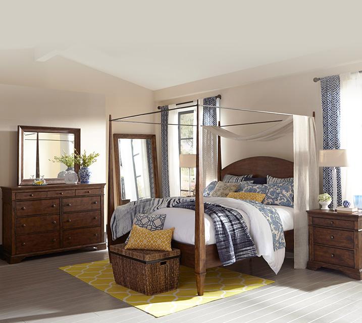 [렌탈] 920-550 Jasper Collection Canopy Bedroom Q Set [침대프레임+화장대+거울+협탁] / 월 127,800원