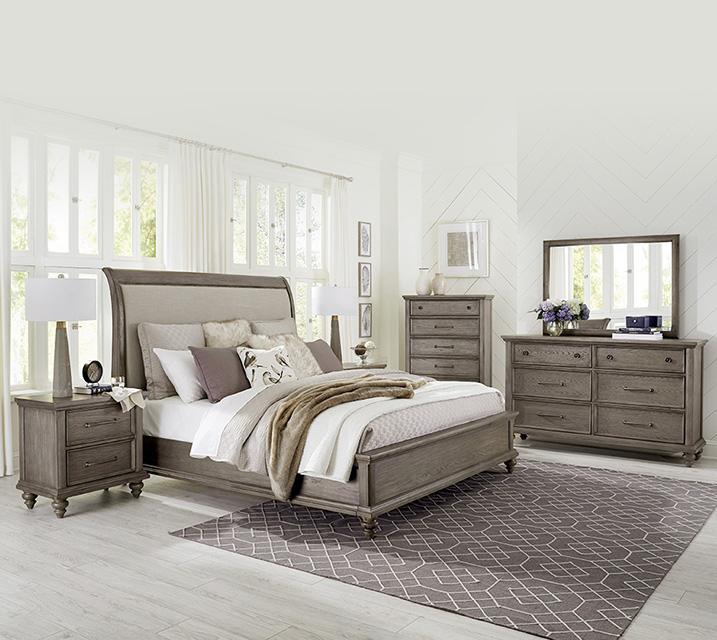 [렌탈] 993 Richmond Collection Sleigh Bedroom EK Set [침대프레임+화장대+거울+협탁] / 월 125,800원