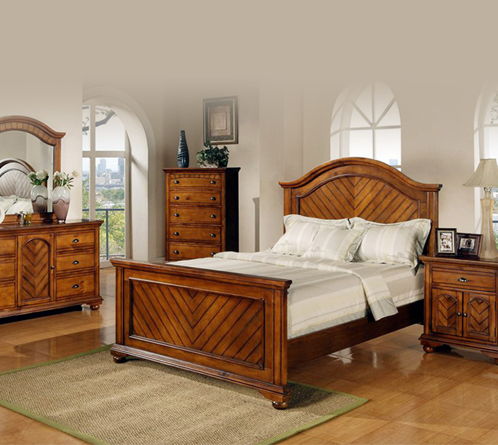 [렌탈] BP450 Brook Chestnut Bedroom Q Set [침대프레임+화장대+거울+협탁] / 월 65,800원