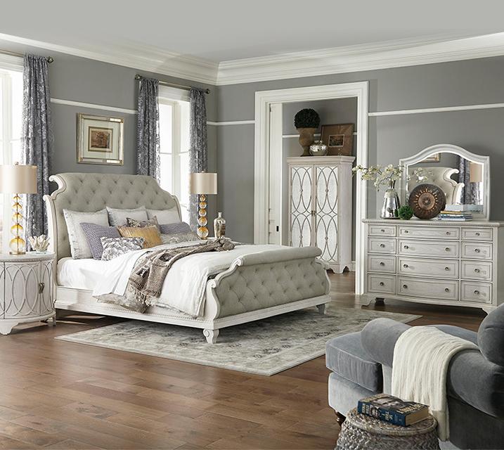 [렌탈] 790 Jasper County collection Bedroom Q Set [침대프레임+화장대+거울+협탁] / 월 153,800원