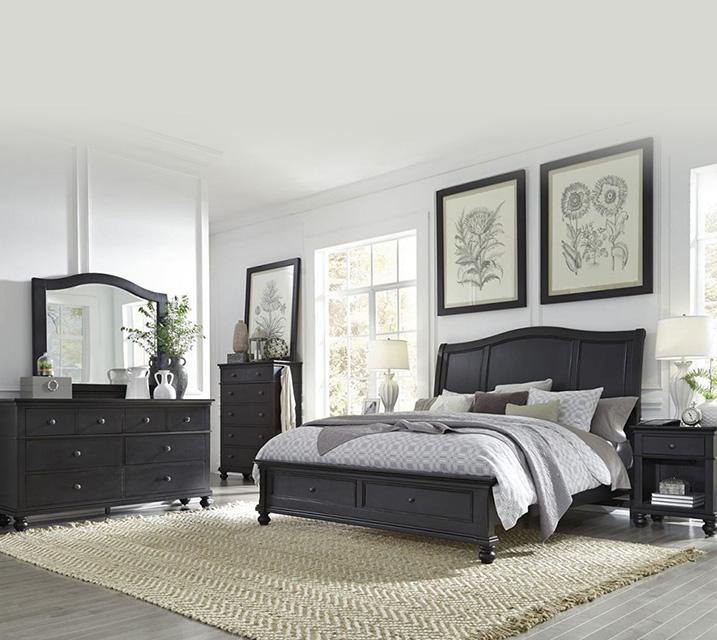 [렌탈] i07 Oxford Sleigh Storage Bedroom EK Set - Black [침대프레임+화장대+거울+협탁] / 월 125,800원