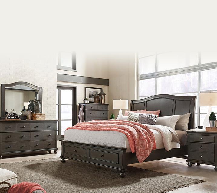 [렌탈] i07 Oxford Sleigh Storage Bedroom EK Set - Peppercorn [침대프레임+화장대+거울+협탁] / 월 125,800원
