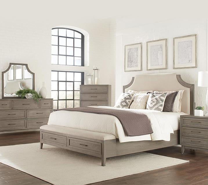 [렌탈] 461 Vogue Upholstered Storage Bedroom EK Set [침대프레임+화장대+거울+협탁] / 월 139,800원