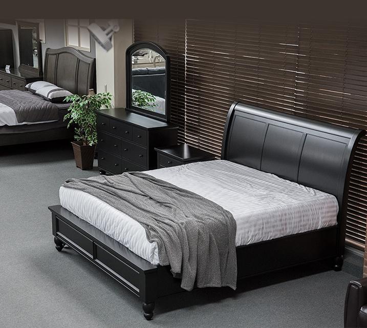[렌탈] ICB Cambridge Sleigh Bedroom Q Set - Black [침대프레임+화장대+거울+협탁] / 월 103,800원