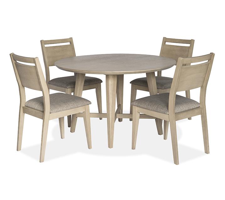 [렌탈] 1183 라운드 4인 식탁세트 [ 테이블 + 의자 4개 ] - 오크 / 월 63,800원