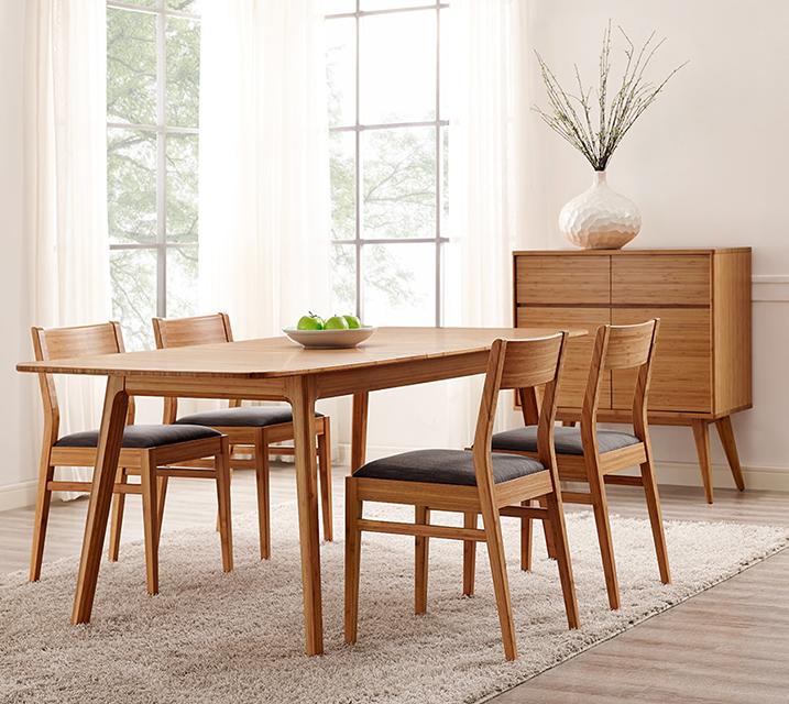 [렌탈] Laurel collection Extension 대나무 4인 식탁세트 [ 테이블 + 의자 4개 ] / 월 159,800원
