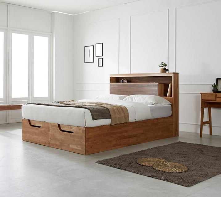[한정렌탈]  리썸 고무나무 크로코 리프트업 침대(Q) + 독립소프트폼 매트리스 포함 (스탬) / 월 53,800원