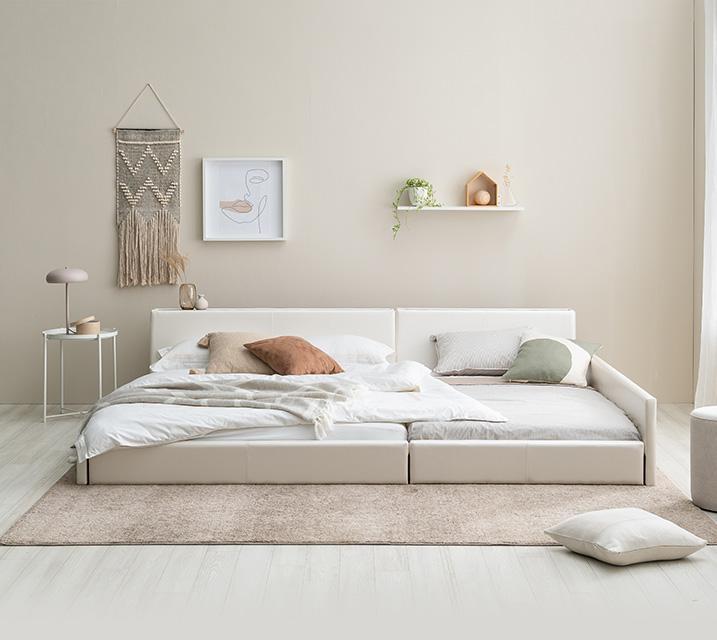 [렌탈] 데이지 패밀리 침대 [화이트] Q+Q+PVC 깔판 / 월 27,800원