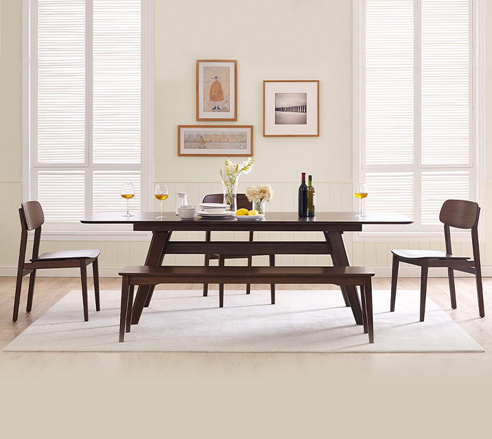 [렌탈] Currant collection Extension 대나무 6인 식탁세트 [테이블+의자 6개] / 월 201,800원