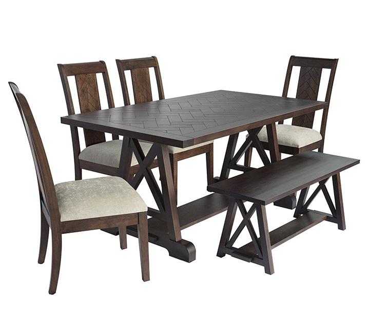 [렌탈] IHOL Holzboden Collection 6인 식탁세트 [테이블+벤치+의자 4개] / 월 111,800원