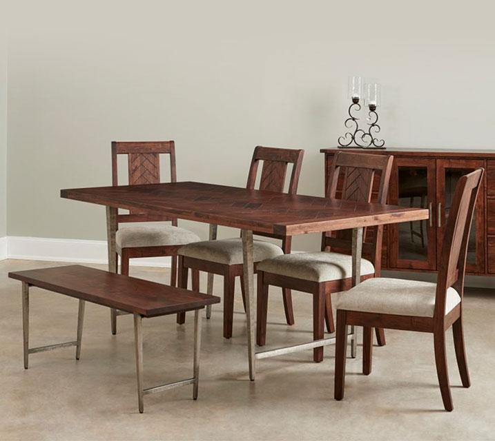 [렌탈] IVAU Vaugham Collection 6인 식탁세트 [테이블+벤치+의자 4개] / 월 111,800원