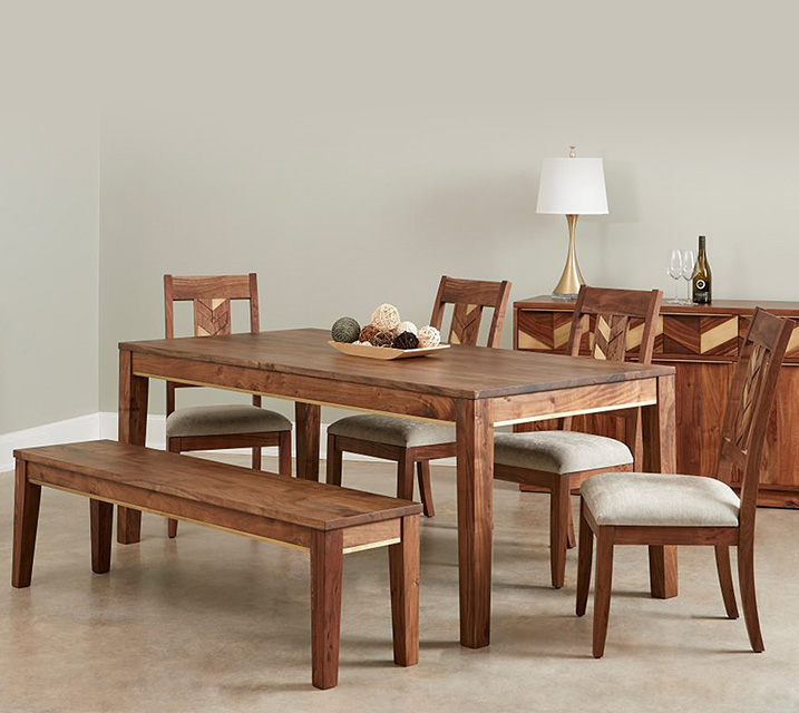 [렌탈] IPAT Patronila Collection 6인 식탁세트 [ 테이블+벤치+의자 4개] / 월 103,800원