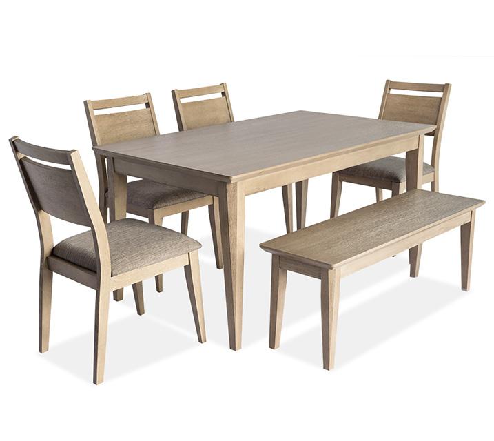 [렌탈] 1183 6인 식탁세트 [테이블+벤치+의자 4개] - 오크 / 월 81,800원
