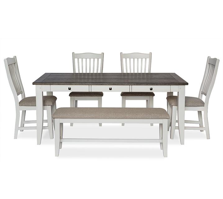 [렌탈] 1147 Lakewood 6인 식탁세트 [테이블+벤치+의자 4개] / 월 85,800원