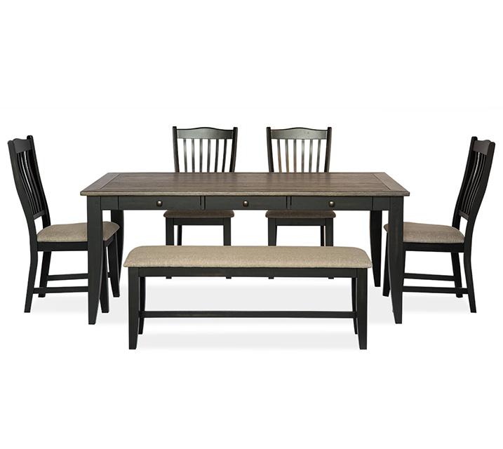 [렌탈] 1148 Lakewood 6인 식탁세트 [테이블+벤치+의자 4개] / 월 85,800원